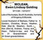 MCLEAN, Ewen Lindsay Golding