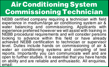 Air Conditioning System Commissioning Technician NEBB certified company requiring a technician wi...