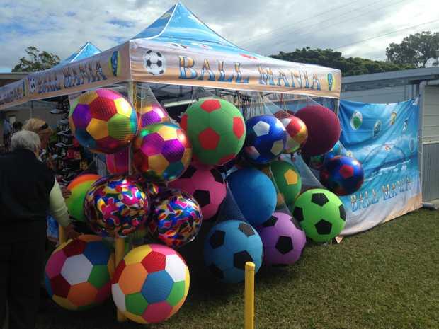 New Year's Eve Festival, Bribie Island Ballmania selling large balls at Brennan Park, Bongare...