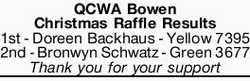 QCWA Bowen Christmas Raffle Results