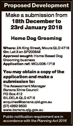 Proposed Development Make a submission from 18th December to 23rd January 2018 Home Dog Grooming Whe...