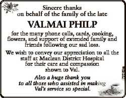 Sincere thanks o on behalf of the family of the late 6735182aa VALMAI PHILP for the many phone calls...