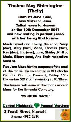 Thelma May Shirvington (Thelly) Born 21 June 1933, twin Sister to June. Called home to Heaven on the...
