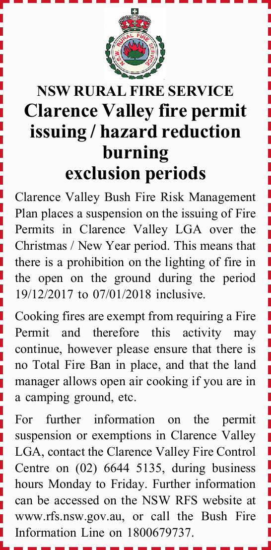 NSW RURAL FIRE SERVICE Clarence Valley fire permit issuing / hazard reduction burning exclusion p...