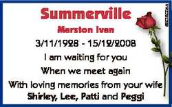 Marston Ivan 3/11/1928 - 15/12/2008 8 I am waiting for you When we meet again With loving memories f...
