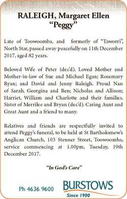"""RALEIGH, Margaret Ellen """"Peggy"""" Late of Toowoomba, and formerly of """"Taworri"""", No..."""
