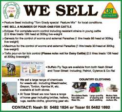 """WE SELL * Pasture Seed including """"Tom Grady special Pasture Mix"""" for local conditions. &gt..."""