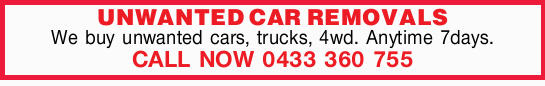 We buy unwanted cars, trucks, 4wd.