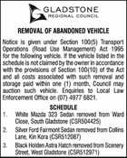 REMOVAL OF ABANDONED VEHICLE