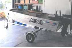 TINNIE, Quintrex, 3.4mtr, Yamaha 15HP motor, fish finder, trailer, (can be dismantled) both reg&r...
