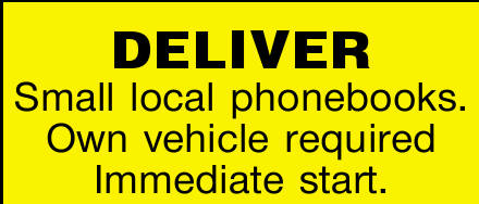 DELIVER Small local phonebooks.