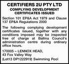 CERTIFIERS 2U PTY LTD COMPLYING DEVELOPMENT CERTIFICATES ISSUED