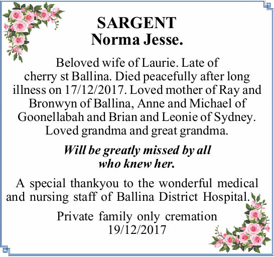 Beloved wife of Laurie.   Late of cherry st Ballina. Died peacefully after long i...