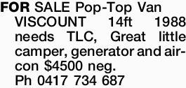 VISCOUNT Pop-Top Van 14ft 1988