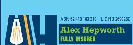 "<p> <span lang=""EN-AU"">Alex Hepworth<br /> FULLY INSURED<br /> Domestic & Commercial</span></p>"