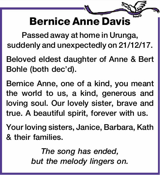 Passed away at home in Urunga, suddenly and unexpectedly on 21/12/17.