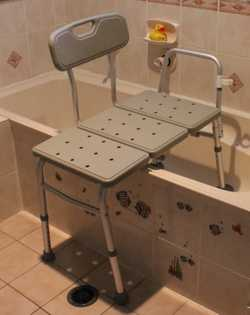 , sit on seat, slide along, move legs into the bath.