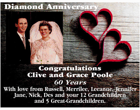 Diamond Anniversary   Congratulations Clive and Grace Poole   60 Years With love   fr...