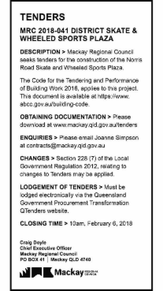 TENDERS   MRC 2018-041 DISTRICT SKATE &   WHEELED SPORTS PLAZA   DESCRIPTION >...