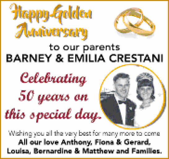Happy Golden Anniversary   to our parents   Barney and Emilia Crestani   celebrating...
