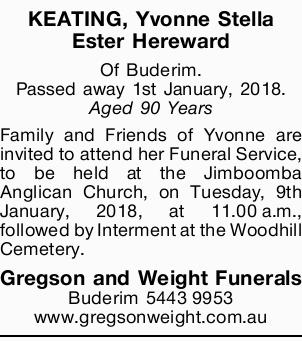 Of Buderim.   Passed away 1st January, 2018.   Aged 90 Years   Family and Friends of...