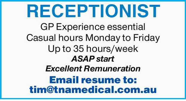 GP Experience essential Casual hours Monday to Friday Up to 35 hours/week  ASAP start E...