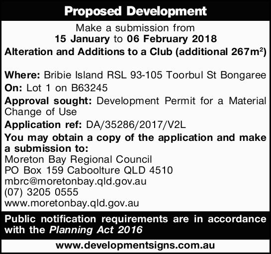 Make a submission from 15 January to 06 February 2018   Alteration and Additions to a Club (a...