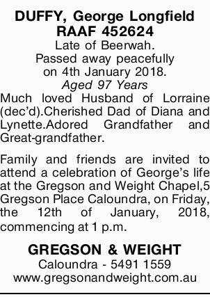 DUFFY, George Longfield   RAAF 452624   Late of Beerwah.   Passed away peacefully on...