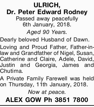 Passed away peacefully 6th January, 2018.   Aged 90 Years.   Dearly beloved Husband of Da...