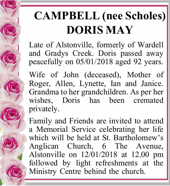 Late of Alstonville, formerly of Wardell and Gradys Creek. Doris passed away peacefully on...
