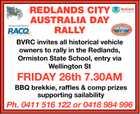 REDLANDS CITY AUSTRALIA DAY RALLY - FRIDAY 26th 7.30AM