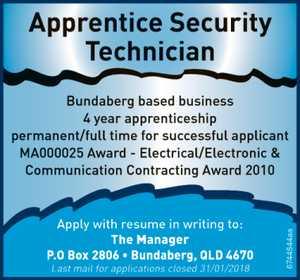 Apprentice Security Technician
