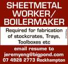 SHEETMETAL WORKER/ BOILERMAKER