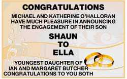 CONGRATULATIONS   MICHAEL AND KATHERINE O'HALLORAN   HAVE MUCH PLEASURE IN ANNOUNCING...