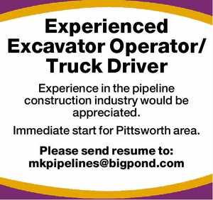 Experienced Excavator Operator/Truck Driver