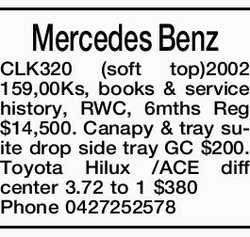 Mercedes Benz CLK320 (soft top)2002 159,00Ks, books & service history, RWC, 6mths Reg $14,500...
