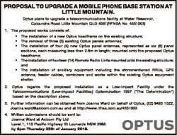 PROPOSAL TO UPGRADE A MOBILE PHONE BASE STATION AT LITTLE MOUNTAIN. Optus plans to upgrade a telecom...
