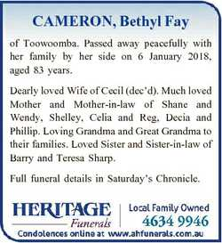CAMERON, Bethyl Fay of Toowoomba. Passed away peacefully with her family by her side on 6 January 20...