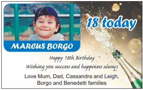 18 today   MARCUS BORGO   Happy 18th Birthday appy 18th Birthday Wishing you success and...