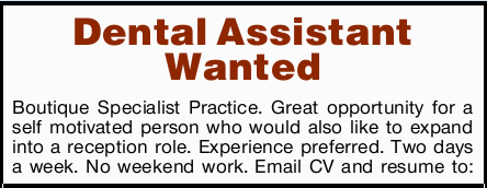 Boutique Specialist Practice. Great opportunity for a self motivated person who would also...