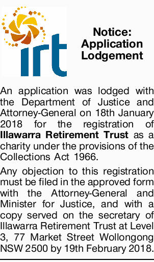 An application was lodged with the Department of Justice and Attorney-General on 18th January 201...