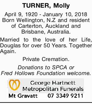 April 9, 1920 - January 10, 2018   Born Wellington, N.Z and resident of Carterton, Auck...