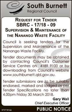 South Burnett Regional Council REQUEST FOR TENDER SBRC - 17/18 - 09 SUPERVISION & MAINTENANCE OF...