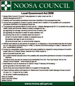 "www.noosa.qld.gov.au 6741466aa Local Government Act 2009 1. Noosa Shire Council (""Council""..."