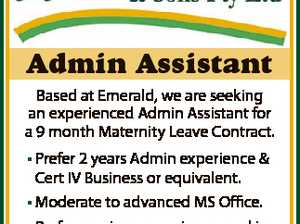 Admin Assistant Based at Emerald, we are seeking an experienced Admin Assistant for a 9 month Maternity Leave Contract. * Prefer 2 years Admin experience & Cert IV Business or equivalent. * Moderate to advanced MS Office. * Prefer previous experience working in transport or logistics. * Able to satisfy pre-employments medical. to submit your ...