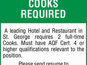 COOKS REQUIRED