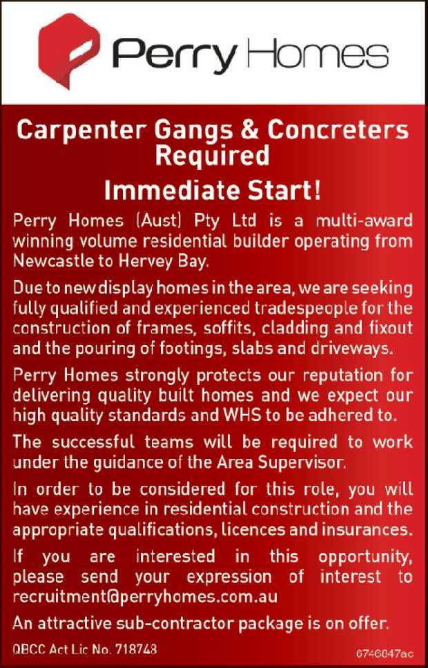 Immediate Start!   Perry Homes (Aust) Pty Ltd is a multi-award winning volume residenti...