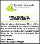 ROAD CLOSURE – ANAKIE STREET