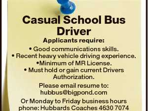 Casual School Bus Driver Applicants require: * Good communications skills. * Recent heavy vehicle driving experience. *Minimum of MR License. * Must hold or gain current Drivers Authorization. Please email resume to: hubbus@bigpond.com Or Monday to Friday business hours phone: Hubbards Coaches 4630 7074