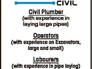 Civil Plumber (with experience in laying large pipes) Operators (with experience on Excavators, large and small) Labourers (with experience in pipe laying) Ph: 0419 850 240 or email: craig@roebuckcivil.com.au